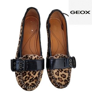 GEOX leopard print moccasins with buckle